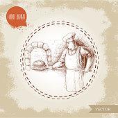 Hand drawn illustration of baker making fresh bread in stone oven. Man in uniform preparing daily bread goods.