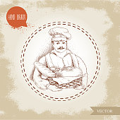 Hand drawn illustration of baker with baker basket of fresh bread.  Man in uniform and daily bread goods.