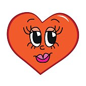 Hand drawn illustration of cartoon face design, heart shape and