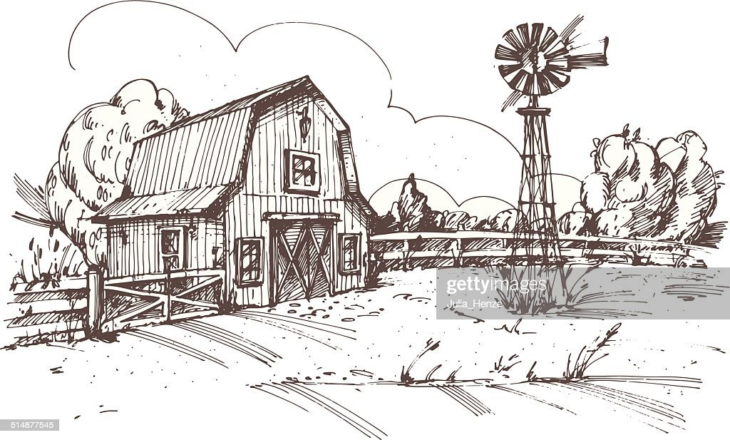 Hand drawn illustration of farmhouse