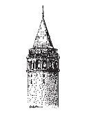 hand drawn illustration of Galata Tower