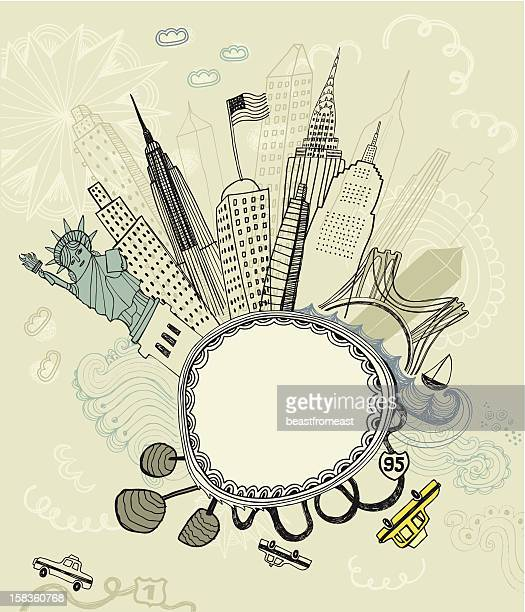 Hand drawn illustration of New York City with blank frame