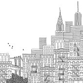 Hand drawn illustration of New York
