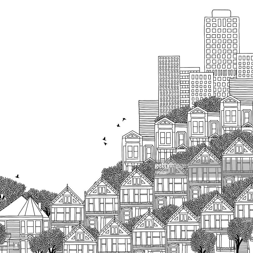Hand drawn illustration of San Francisco