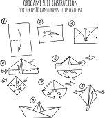 hand drawn illustration of ship origami