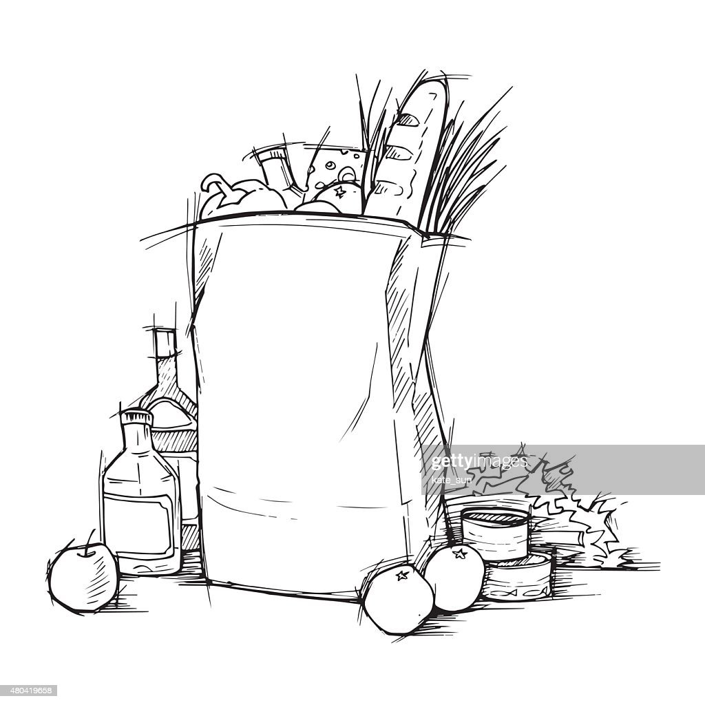 Hand drawn illustration - Paper Bag With Food. Sketch. Vector.