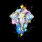 hand drawn illustration with color elephant