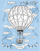 Hand drawn illustration with hot ait balloon on blue