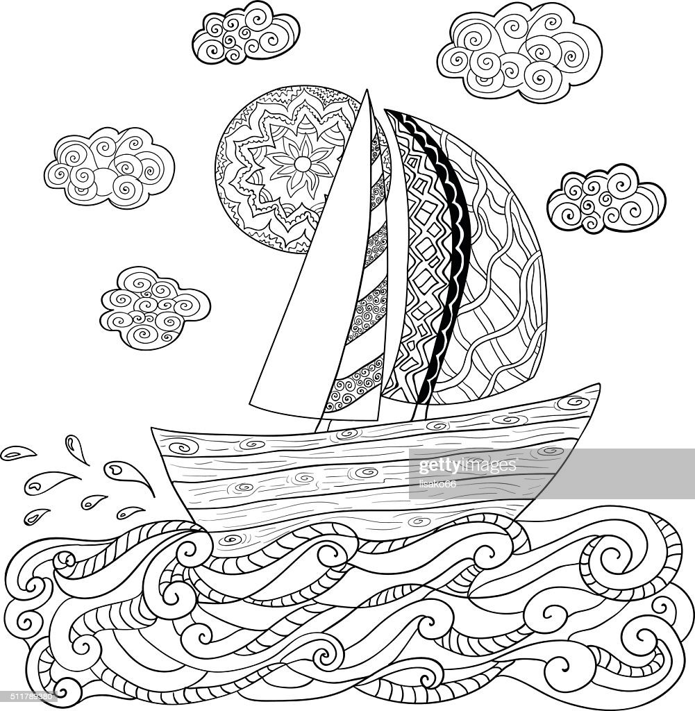Hand drawn illustration with sailing boat.