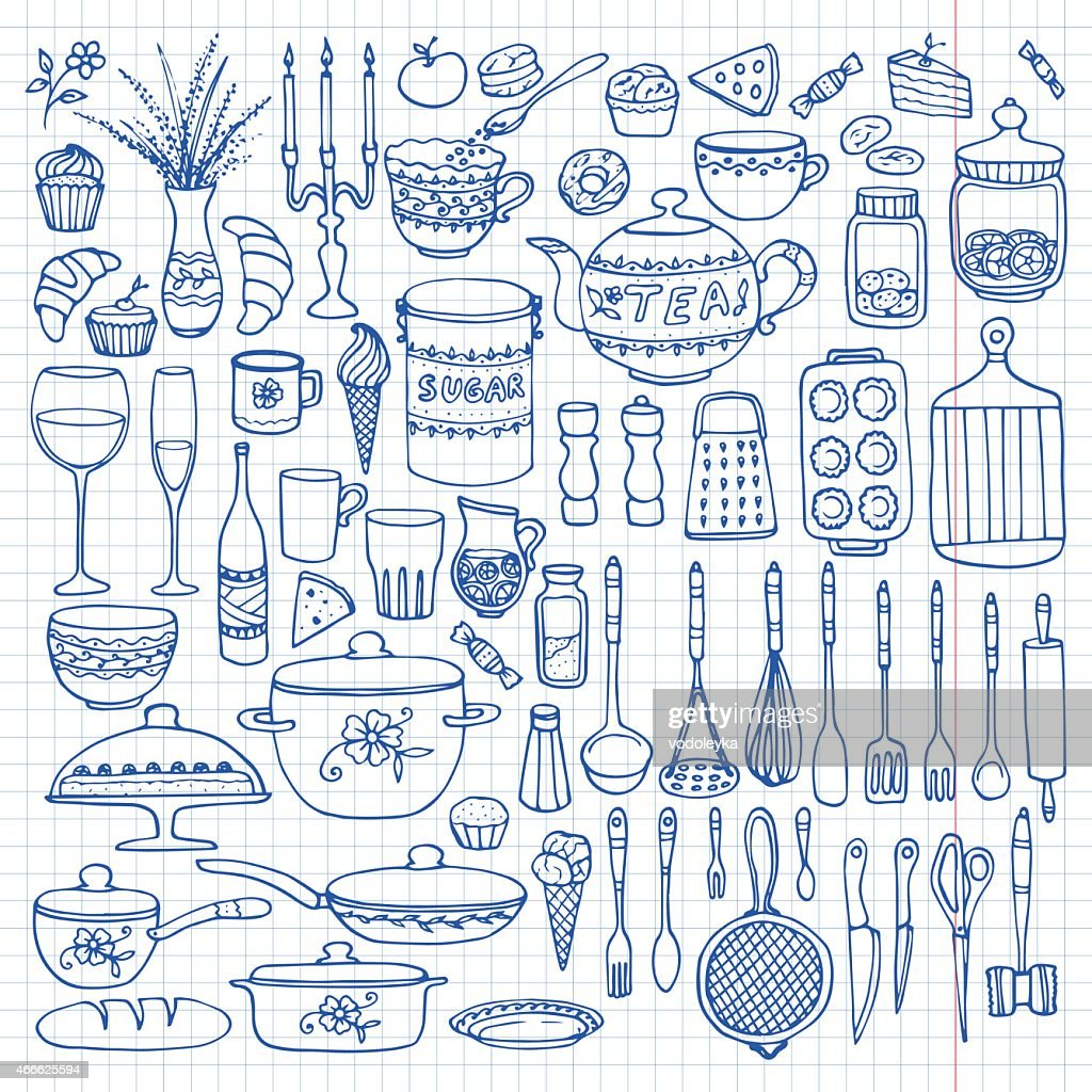 A hand drawn image of all types of cookware