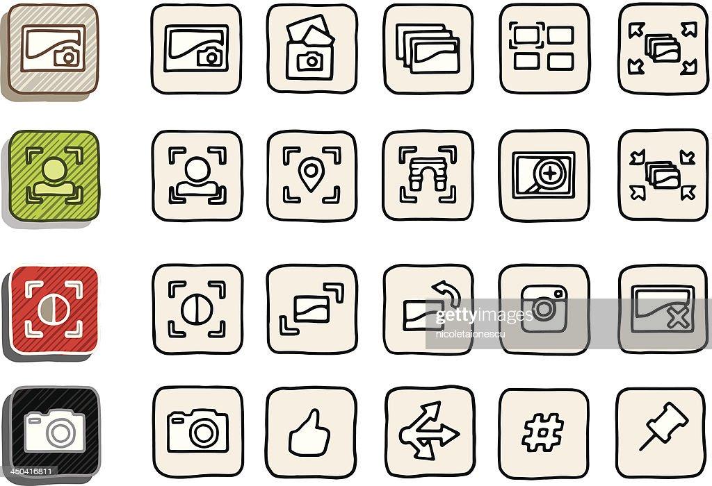 Hand Drawn Image Sharing Icons