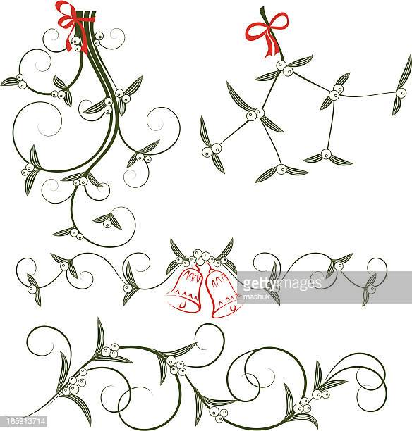 hand drawn images of mistletoe in black and red - mistletoe stock illustrations, clip art, cartoons, & icons