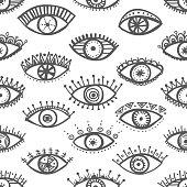Hand drawn indian ethnic tribal eyes fashion trendy seamless pat