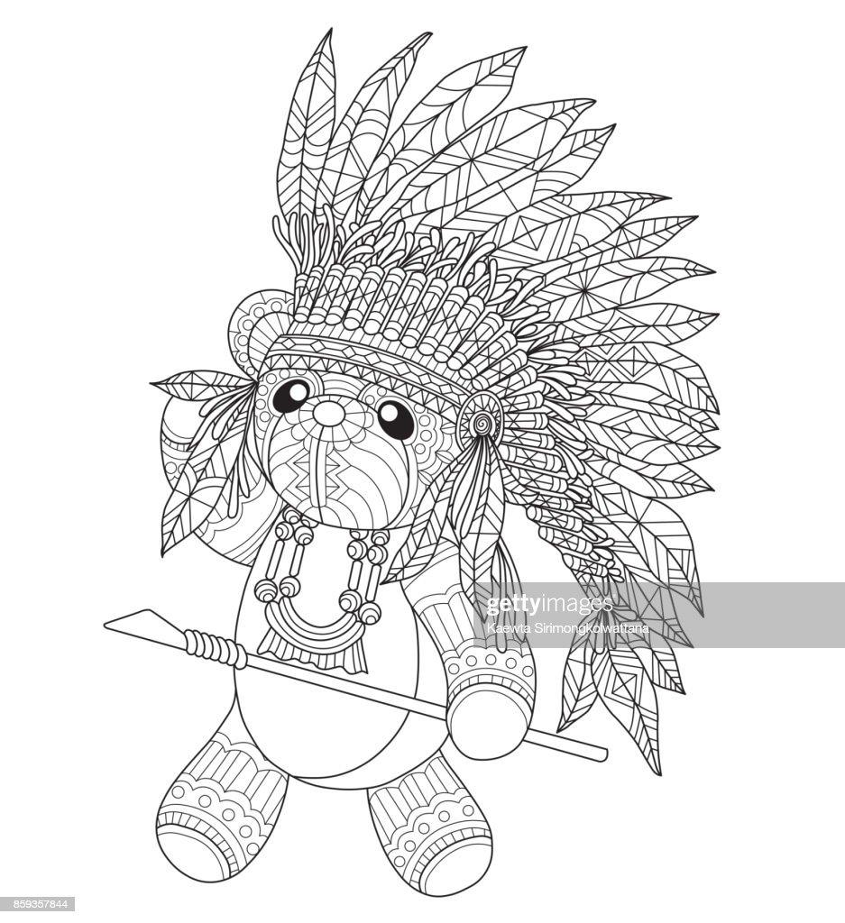 Der Hand Gezogenen Indischen Teddybär Für Erwachsene Malvorlagen ...