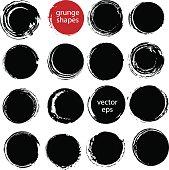 Hand drawn ink grunge circles set.