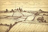 Hand drawn ink sketch rural landscape.