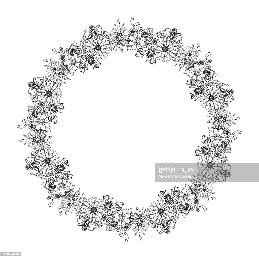 Handgezeichnete Tinte Hochzeit Kranz Mit Blumen Perlen Band Bogen
