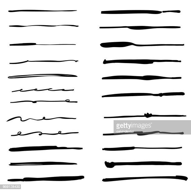 hand drawn inking brushes collection - single line stock illustrations