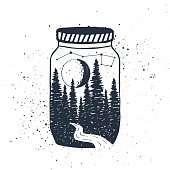Hand drawn inspirational label with forest in a jar vector illustration.