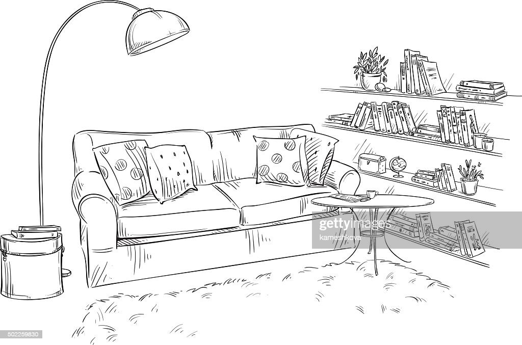 hand drawn interior element. Comfortable sofa, lamp and bookshelves
