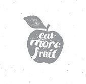 Hand drawn isolated apple illustration with motivating words