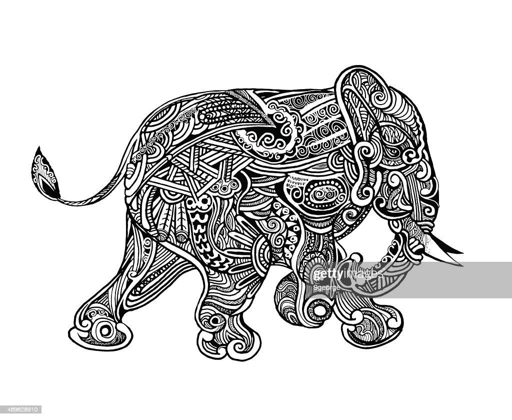 hand drawn isolated ethnic elephants