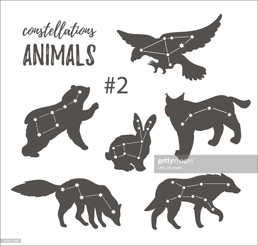 Hand drawn isolated silhouettes of animals with constellations. Vector illustration.
