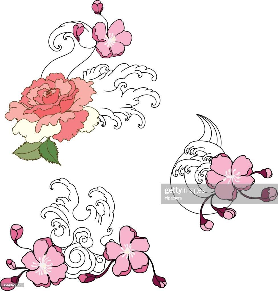 La Main Vague Japonaise Dessinee Et Tatouage Fleur Clipart Vectoriel
