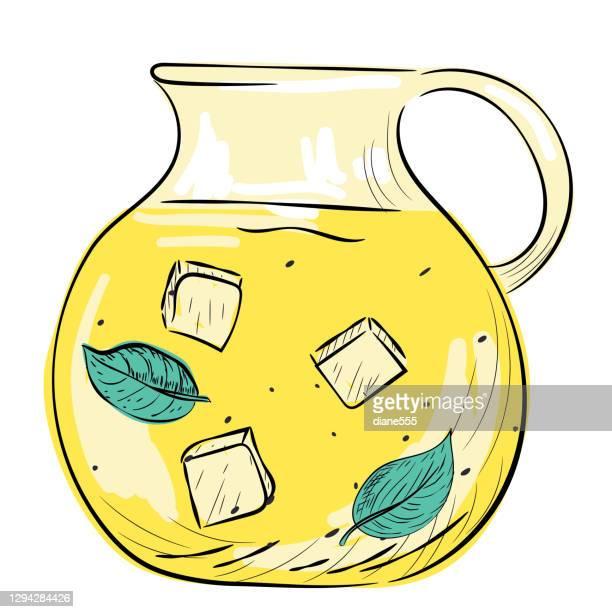 hand drawn jug of lemonade - lemonade stock illustrations
