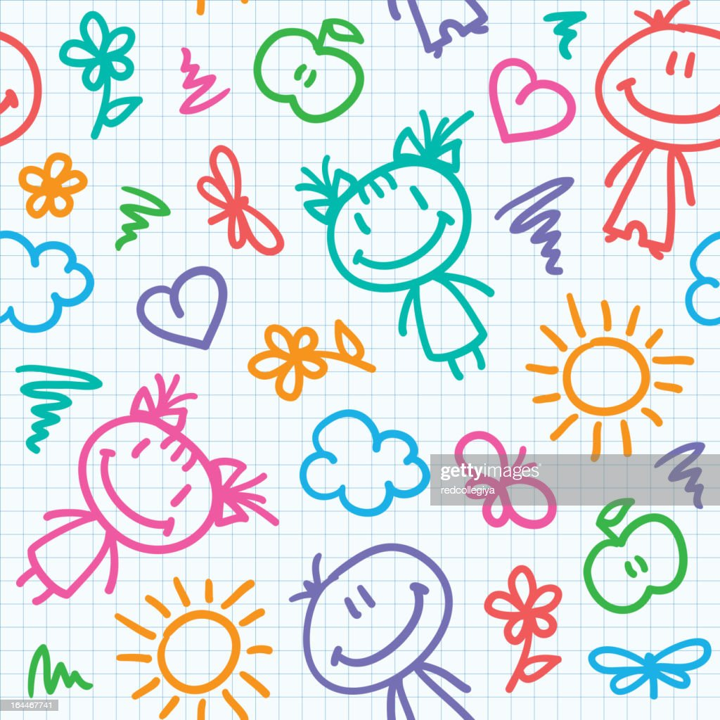 hand drawn kid pattern