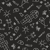 Hand drawn kids vintage blackboard texture background with chalk drawings