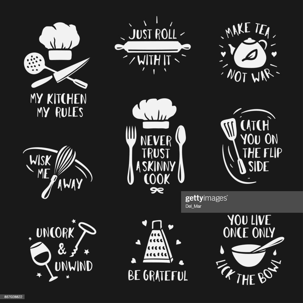 Hand drawn kitchen posters set. Vector vintage illustration.