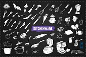 Hand drawn kitchen utencils. Set of kitchenware chalk drawing style vector icons on black background. Vintage doodles for design restaurant menus and decorating cookbooks and recipes