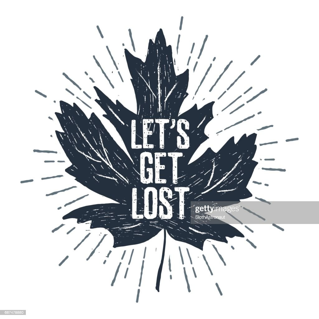 Hand drawn label with textured maple leaf vector illustration.