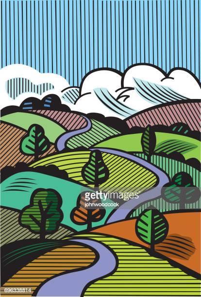Hand drawn landscape illustration