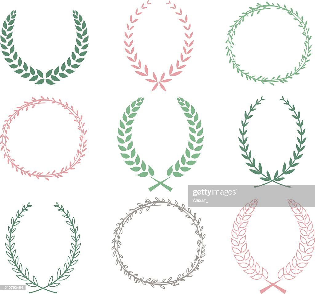 Hand Drawn Laurel Wreaths Collections