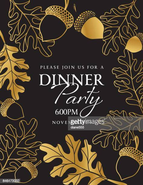 hand drawn leaves background in black and gold - party social event stock illustrations, clip art, cartoons, & icons
