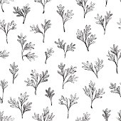 Hand drawn leaves seamless pattern