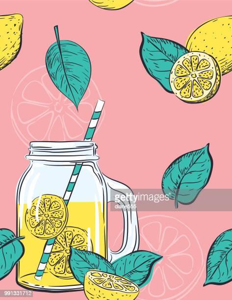 hand drawn lemons pattern - citrus fruit stock illustrations, clip art, cartoons, & icons