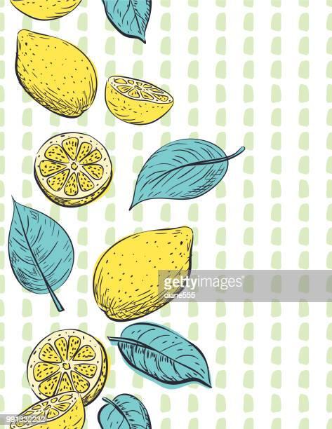 ilustrações, clipart, desenhos animados e ícones de limões de mão desenhada padrão - limão amarelo