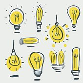 Hand drawn light bulbs