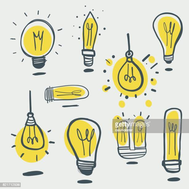 hand drawn light bulbs - lighting equipment stock illustrations, clip art, cartoons, & icons