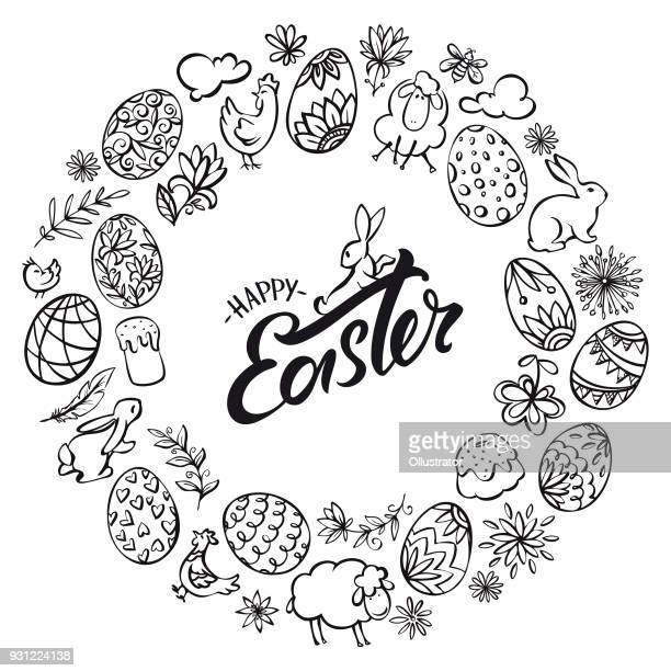 hand drawn line art easter elements wreath - easter stock illustrations, clip art, cartoons, & icons