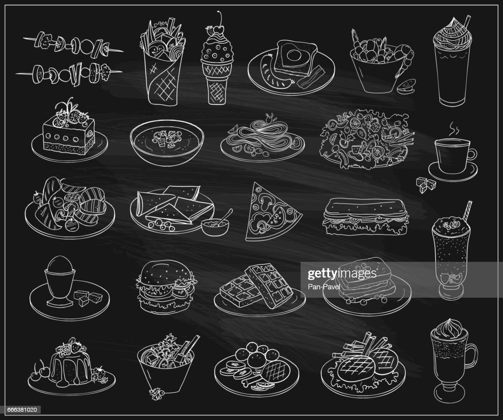 Hand drawn line graphic illustration of assorted food, desserts and drinks