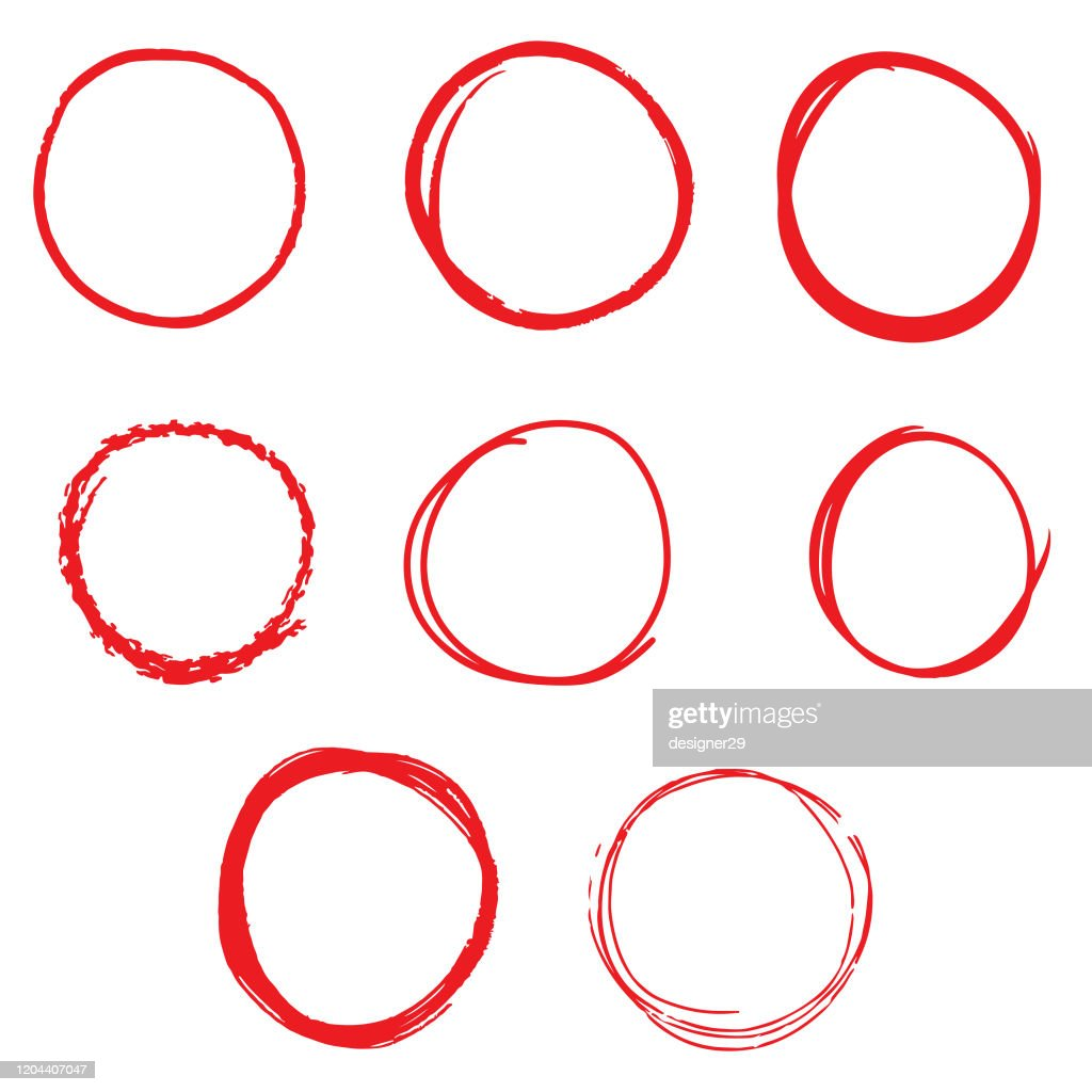 Hand Drawn Line Sketch Red Circle Set on White Background Vector Design. : stock illustration