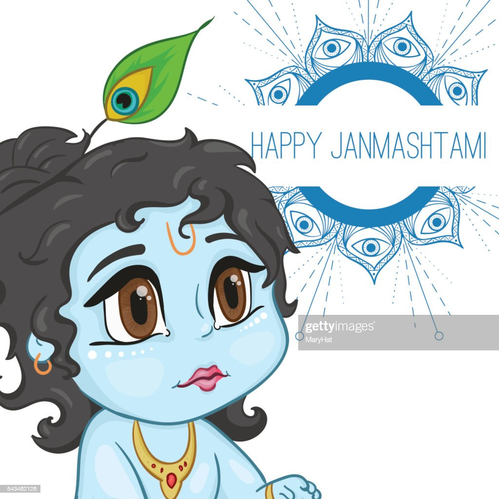 Hand drawn little baby god Krishna in anime style. With
