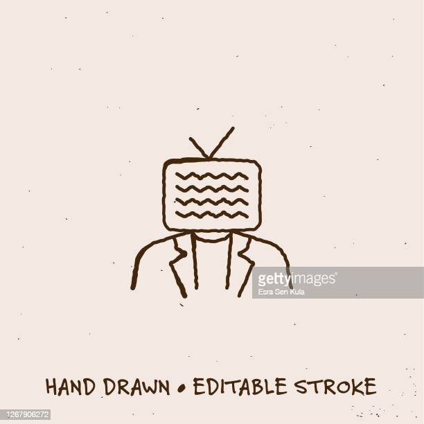 hand drawn live streaming single line icon with editable stroke - webcam media apparaat stock illustrations