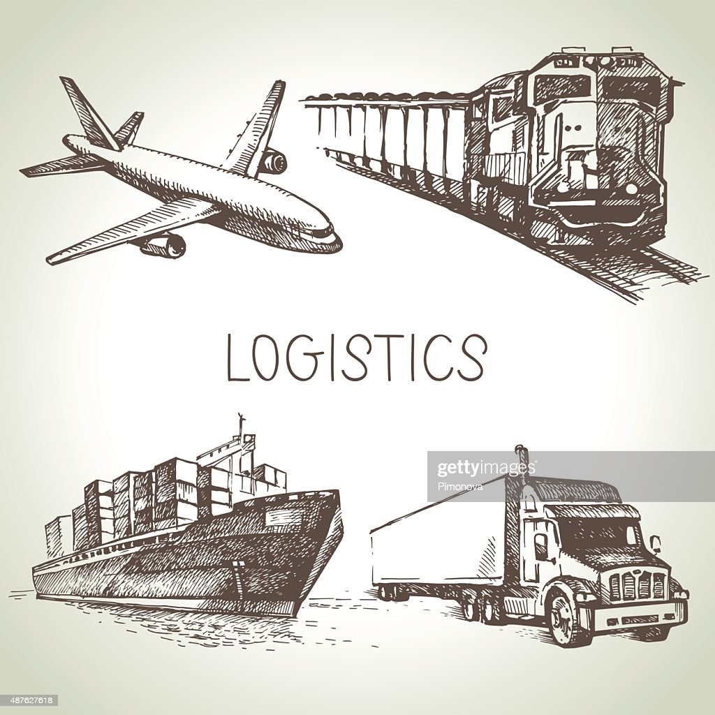 Hand drawn logistics and delivery sketch icons set. Vector illus