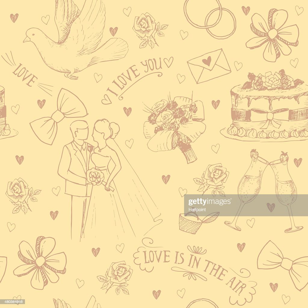 Hand drawn love symbols