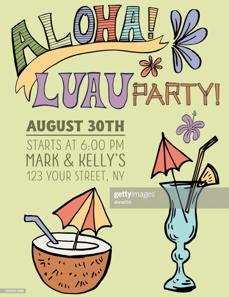 hand drawn luau party invitation template vector art getty images